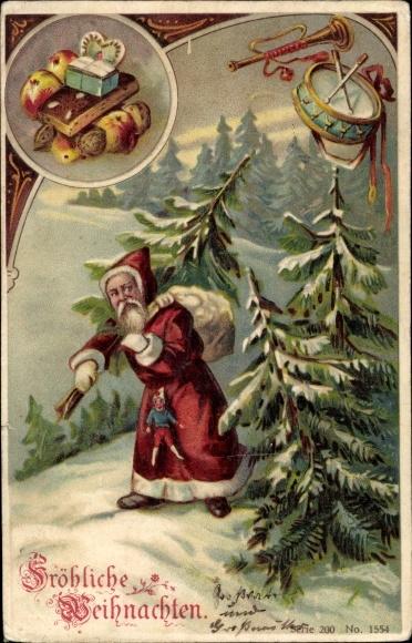 Präge Ak Frohe Weihnachten, Weihnachtsmann, Lebkuchen, Tanne