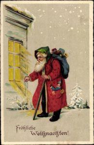 Ak Frohe Weihnachten, Weihnachtsmann an einem Fenster