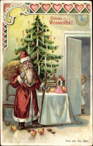 Präge Ak Frohe Weihnachten, Weihnachtsmann,Tanne