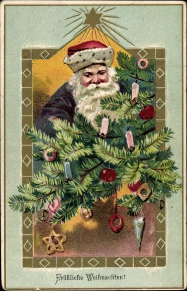 Präge Ak Frohe Weihnachten, Weihnachtsmann, Tanne, Baumschmuck