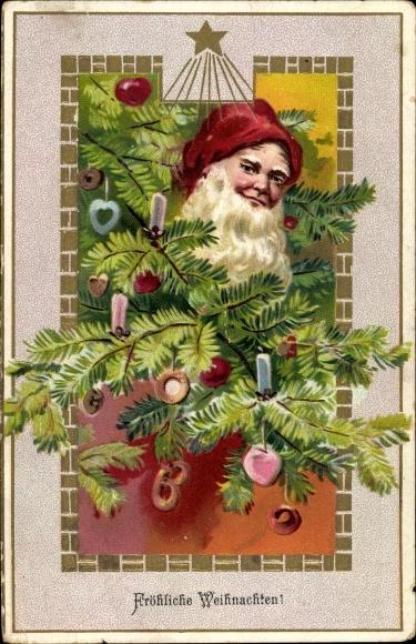 Präge Ak Frohe Weihnachten, Weihnachtsmann, Tanne
