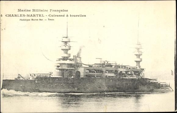 Ak Französisches Kriegsschiff, Charles Martel, Cuirassé a tourelles, Marine Militaire Francaise