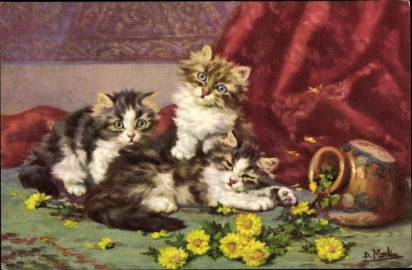 Künstler Ak Merlin, D., Drei junge Katzen, Kätzchen mit umgeworfener Blumenvase