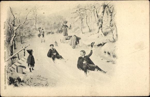 Künstler Ak Brandseph, H., Kinder bei Rodelpartie, verschneiter Hang, Schlitten