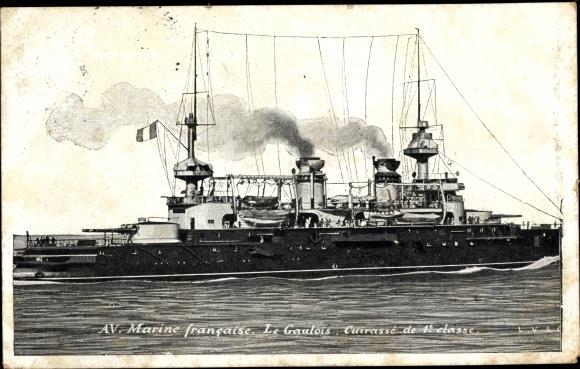Ak Französisches Kriegsschiff, Le Gaulois, Marine Francaise, Cuirassé de 1e classe