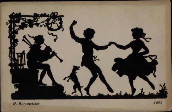 Scherenschnitt Künstler Ak Borrmeister, R., Tanz, tanzendes Paar, Hund, Dudelsackspieler