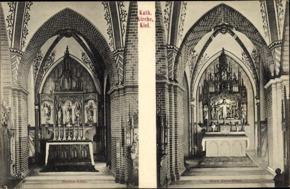 Ak Kiel in Schleswig Holstein, Katholische Kirche, Marienaltar, Herz Jesu Altar