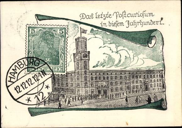 Briefmarken Ak Hamburg, Postamt 12, 12.12.12., Post Kuriosum