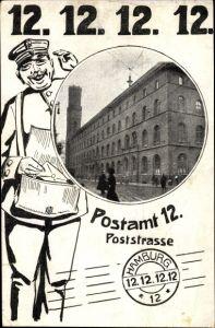 Ak Hamburg, Poststraße, Postamt 12, 12.12.12., Briefträger