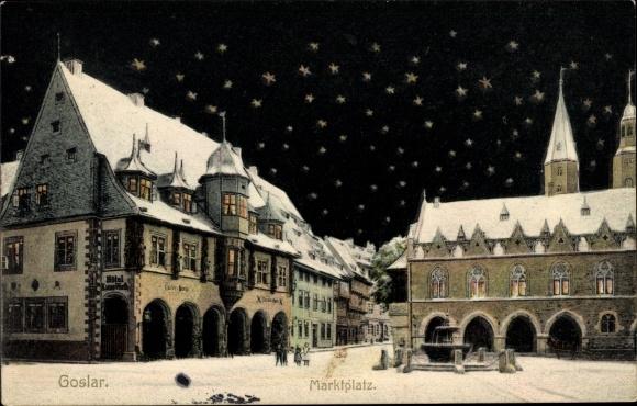Ak Goslar in Niedersachsen, Marktplatz bei Nacht im Winter, Hotel Kaiser Worth