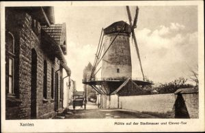 Ak Xanten am Niederrhein, Mühle auf der Stadtmauer, Windmühle, Clever Tor