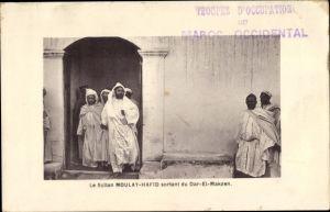 Ak Marokko, Le Sultan Moulay Hafid sortant du Dar El Makzen
