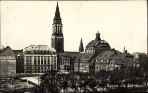 Ak Kiel in Schleswig Holstein, Rathaus u. Stadttheater, Vereinsbank in Kiel Fassadenwerbung