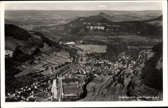 Ak Unterhausen Lichtenstein Württemberg, Fliegeraufnahme von Ort und Umgebung