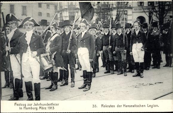 Ak Hamburg Altstadt, Festzug zur Jahrhundertfeier 1913, Rekruten der Hanseatischen Legion