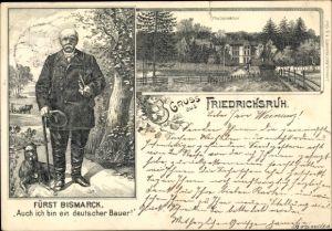 Litho Friedrichsruh Aumühle Schleswig Holstein, Fürst Bismarck, Portrait m. Hund, Friedrichsruh