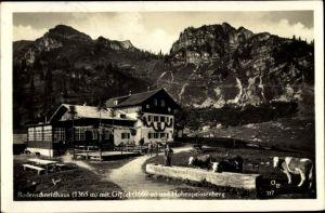 Ak Neuhausen Oberbayern, Bodenschneidhaus mit Gipfel und Hohenpeissenberg, Kühe an Tränke