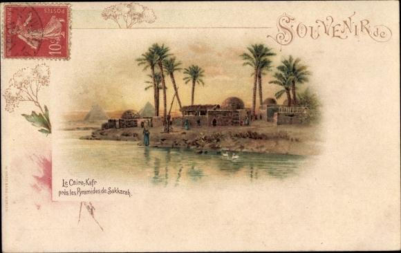 Litho Cairo Kairo Ägypten, Le Caire Kafr, les Pyramides de Sakkara, Pyramiden