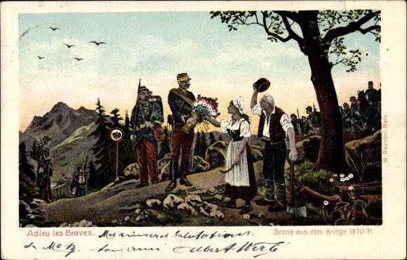 Ak Adieu les braves, Szene aus dem Kriege 1870-71, Französische Soldaten
