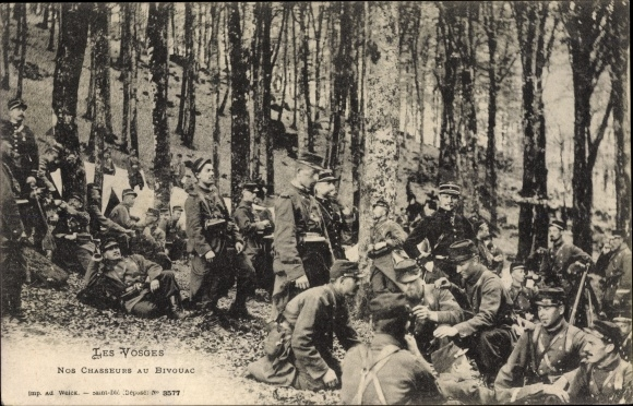 Ak Lothringen Vosges, Nos chasseurs au bivouac, Französische Soldaten