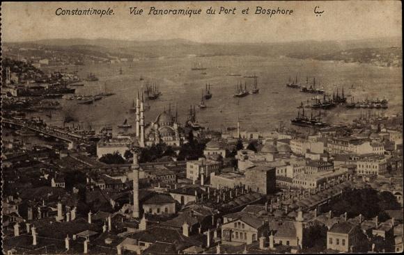 Ak Konstantinopel Istanbul Türkei, Vue panoramique du Port et Bosphore