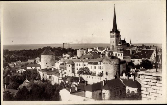 Ak Tallinn Reval Estland, Olaikirche, Teilansicht der Stadt