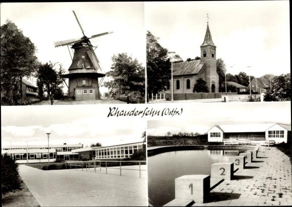 Ak Rhauderfehn Ostfriesland, Windmühle, Kirche, Schule, Freibad