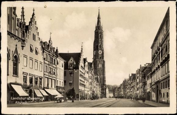 Ak Landshut in Niederbayern, Altstadt, Kirche, Läden