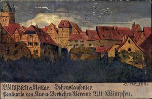 Künstler Ak Kempin, Curt, Bad Wimpfen am Neckar, Hohenstaufentor, Wohnhäuser