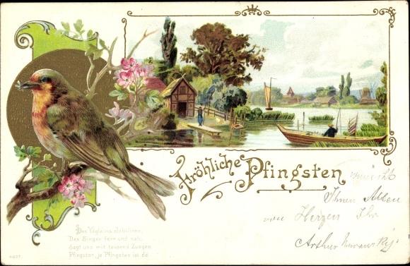 Gold Litho Glückwunsch Pfingsten, Vogel m. Fliege im Schnabel, Angler, Ruderboot, Gedicht