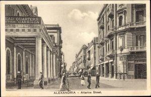 Ak Alexandria Ägypten, Attarine Street, British Garrison Head Quarters, Straßenpartie