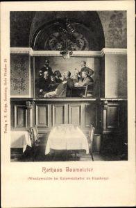 Ak Hamburg Altstadt, Rathaus, Gemälde, Baumeister, Innenansicht