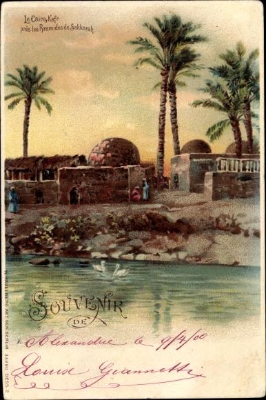 Litho Cairo Kairo Ägypten, Kafr près les pyramides de Sakkarah