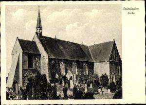 Ak Rodenkirchen Stadland Wesermarsch, Kirche, Friedhof