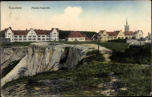 Ak Grudziądz Graudenz Westpreußen, Pionier Kasernen