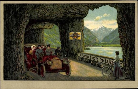Litho Excelsior Pneumatic, Reklame, Auto, Fahrrad