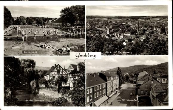 Ak Gevelsberg im Ennepe Ruhr Kreis, Panorama vom Ort, Strandbad, An der Ennepe, Mittelstraße