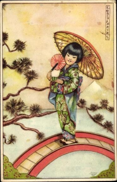 Künstler Ak Malson, Kurt, Japanerin in Kimono, Primus
