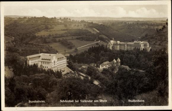Ak Schönstatt Vallendar am Rhein, Totalansicht mit Studienheim und Bundesheim