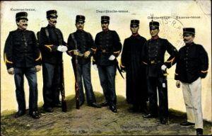 Ak Infanterie Kader, Kazerne tenue, Dagelijksche tenue, Groote tenue, Soldaten