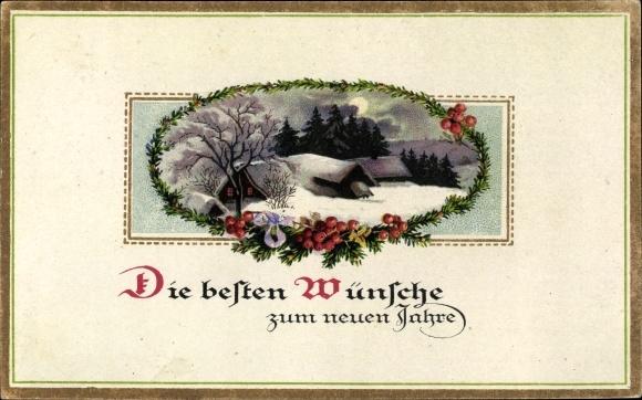 Ak Glückwunsch Neujahr, Nachtszene, Winterszene