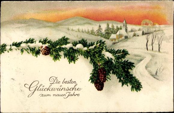 Ak Glückwunsch Neujahr, Tannenzweig, Winterszene