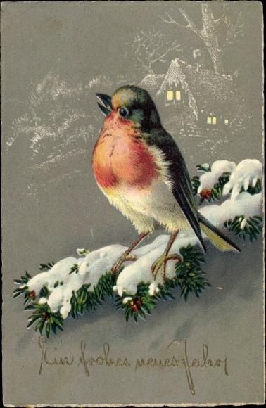 Ak Glückwunsch Neujahr, Vogel auf einem Tannenzweig