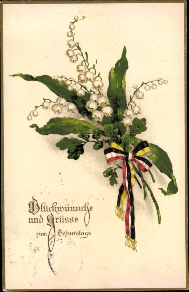 Ak Glückwunsch Geburtstag, Glockenblumen, Schleifen