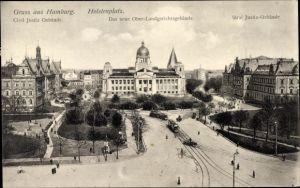 Ak Hamburg Altstadt, Holstenplatz, Totalansicht, Neues Oberlandesgerichtsgebäude, Justizgebäude