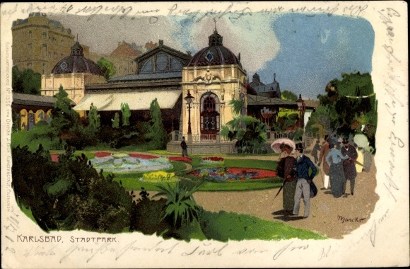 Künstler Litho Marcks, G., Karlovy Vary Karlsbad Stadt, Stadtpark