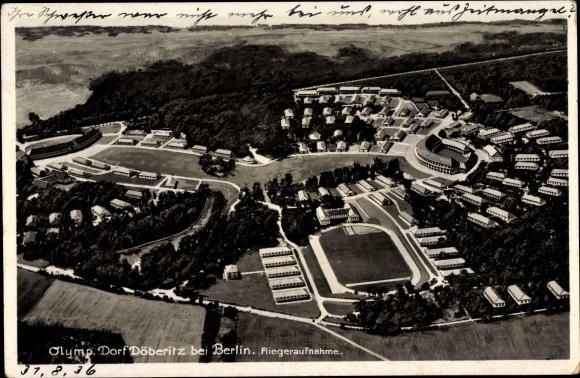 Ak Elstal Wustermark Brandenburg, Das Olympische Dorf Döberitz, Fliegeraufnahme