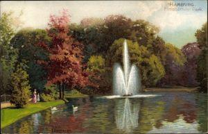 Künstler Ak Kämmerer, Rob., Hamburg Eimsbüttel, Partie im Park mit Fontäne