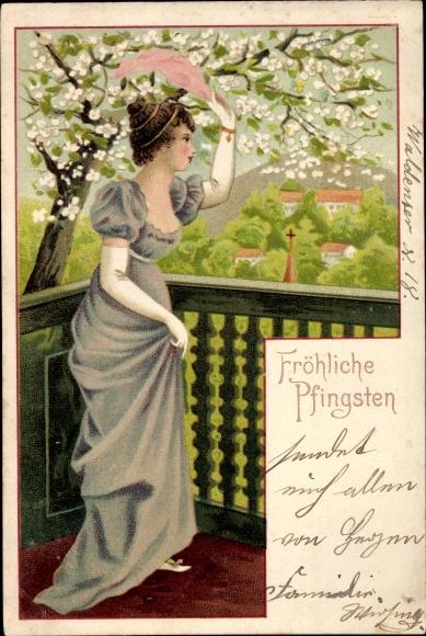 Ak Glückwunsch Pfingsten, Junge Frau, Handschuhe, Baumblüte