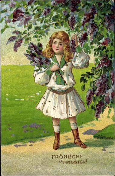 Präge Ak Glückwunsch Pfingsten, Mädchen, Baumblüte, Landschaftsidylle